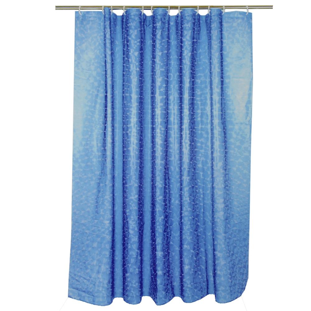 VETTA Шторка для ванной, винил, 180x180см, 12 колец, 3D, круги, синий