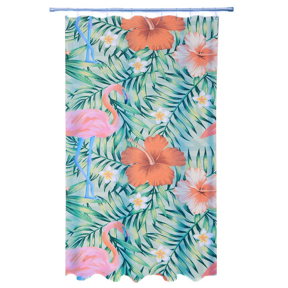 VETTA Шторка для ванной, ткань полиэстер с утяжелит, 180x180см, фотопечать эконом, Южные цветы