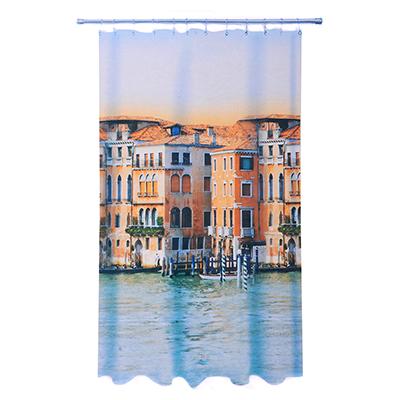 VETTA Шторка для ванной, ткань полиэстер с утяжелит, 180x200см, фотопечать эконом, Венеция