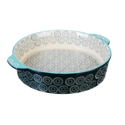 MILLIMI Форма для запекания и сервировки круглая с ручками, керамика, 25х6см, аквамарин