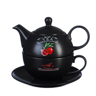 MILLIMI Вельвет Чайный набор Эгоист, чайник 440мл, чашка 330мл, блюдце 15см, керамика