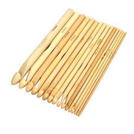 Набор бамбуковых крючков для вязания 16 шт