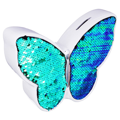Копилка в виде бабочки с пайетками, керамическая, 21х5,1х15,7см