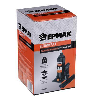ЕРМАК Домкрат гидравлический бутылочный 3 т, высота подъема 194-372мм, T90304