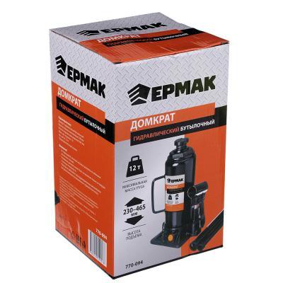 ЕРМАК Домкрат гидравлический бутылочный 12 т, высота подъема 230-465мм