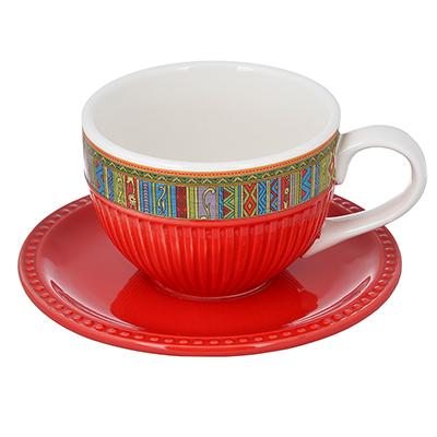 MILLIMI Этника Набор чайный 2 пр. (чашка 14х10,5х7см, 330мл; блюдце 15,5см), керамика