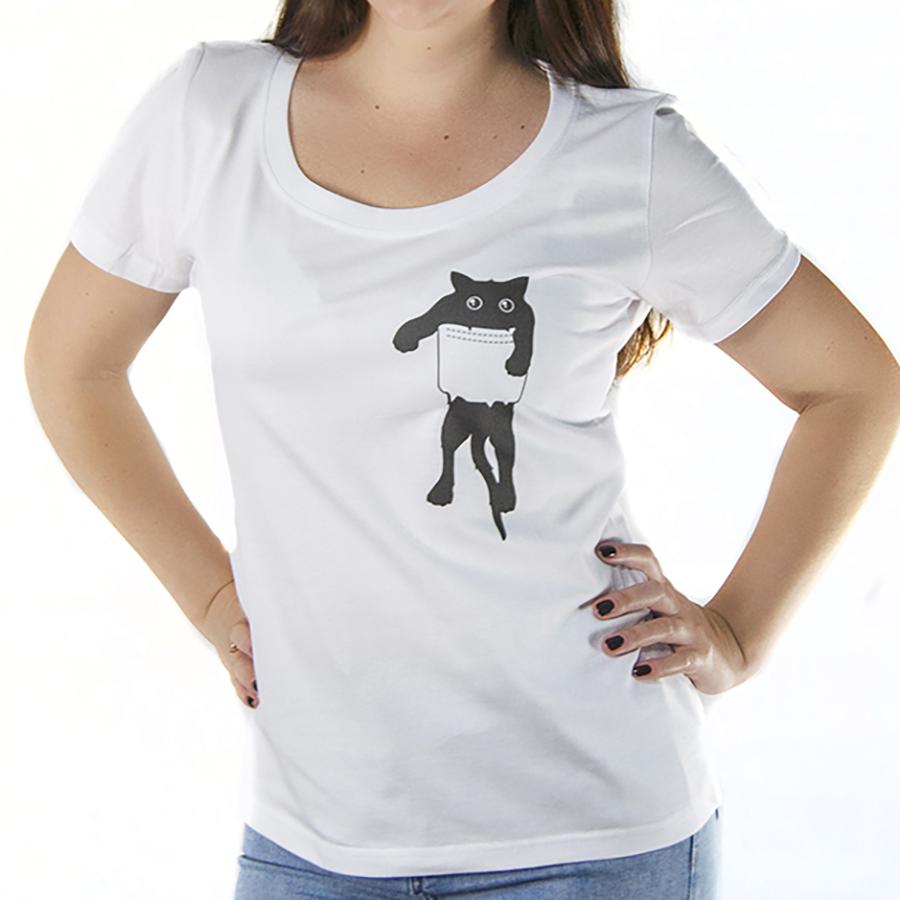 Футболка женская с принтом кот в кармашке
