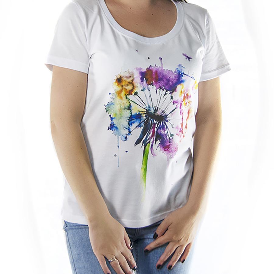 Футболка женская с принтом цветной одуванчик