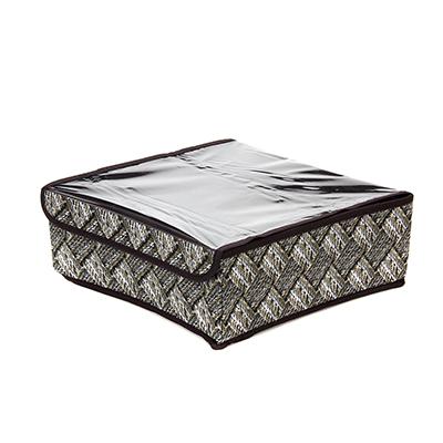 VETTA Кофр для хранения мелочей Плетение с прозрачной крышкой 16 ячеек, спанбонд, 32x32x12см