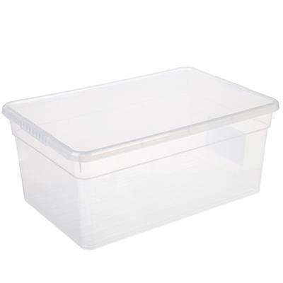 Ящик для хранения с крышкой 10л BASIC, полипропилен, 36,9х24,7х15,4см, арт.FB1051