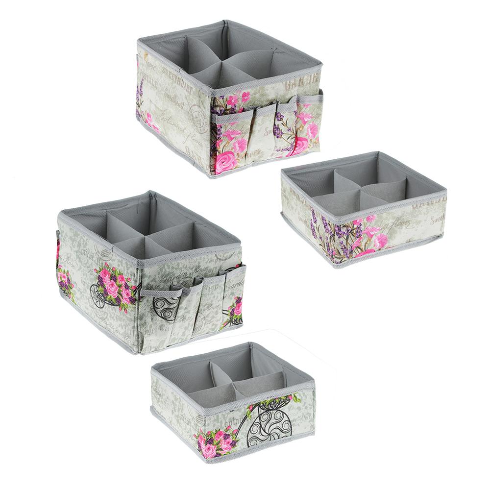 VETTA Прованс Набор коробов для хранения с карманами 15х15х12, 15х15х7 см, 2 дизайна