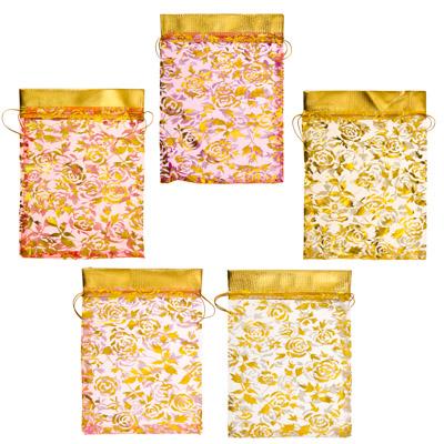 Мешок из органзы, 13х18см, Розочки, 5-6 цветов