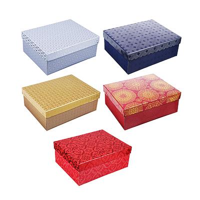 Коробка подарочная складная с фольгированным слоем, бумага, 5 цветов (21х16х7,5 см)