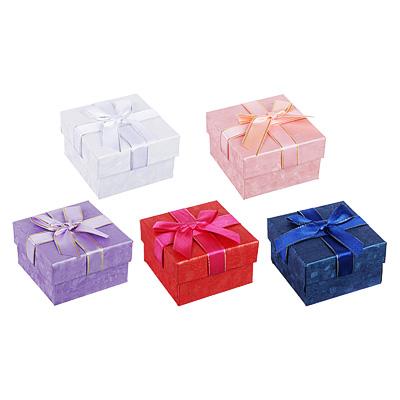 Коробка подарочная с бантом, 7,5х7,5х4,5 см, 5 цветов