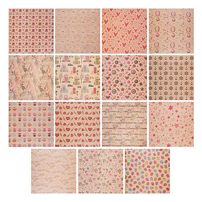 Бумага упаковочная 69х100 см, крафт, 15 дизайнов