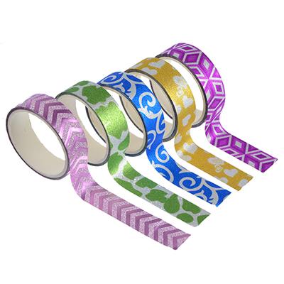 Набор клейкой ленты с блеском, ПВХ,1,5х270 см, набор 5 шт, (8х4,5 см)