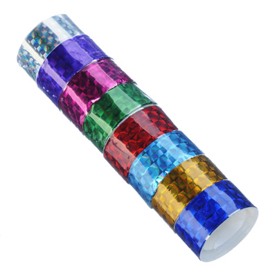 Набор клейкой ленты, голография, ПВХ, 1,8х150 см, 8 цветов, 8 шт
