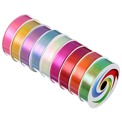 Лента подарочная, декоративная, 1,8 см х 8 м, пластик, 9 цветов, перламутр