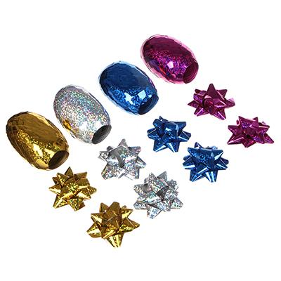 Набор для упаковки подарка, 2 ленты и 4 бантика, 6 цветов, 4-6 цветов