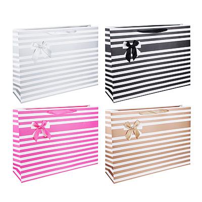 Пакет подарочный, 45х32х12 см, высококачественная бумага, полоски с бантиком, 4 цвета