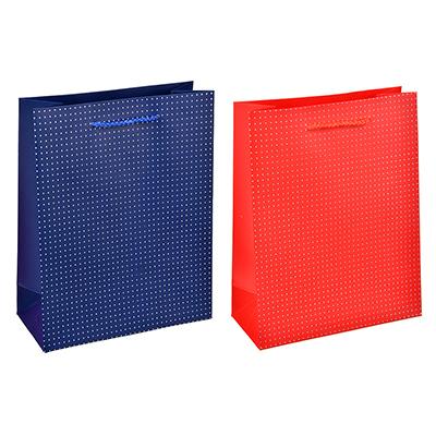 Пакет подарочный, высококачественная бумага с фолдингом, 26х32х10 см, красный и синий, 2 цвета