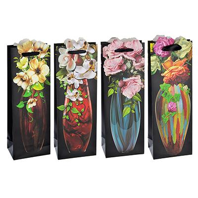 Пакет подарочный, высококачественная бумага, 12,8х36х8,4 см, 4 дизайна с вазами