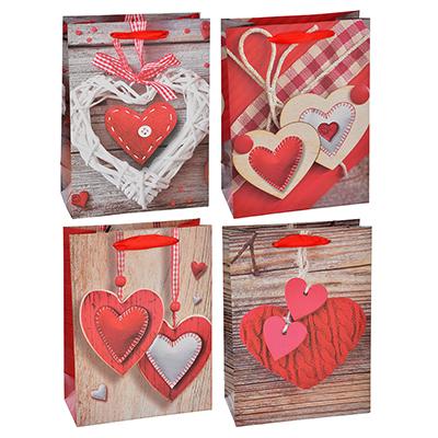 Пакет подарочный, высококачественная бумага, 18х24х8,5 см, 4 цвета, с сердцами