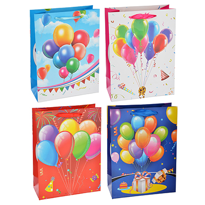 Пакет подарочный, высококачественная бумага с глиттером, 26х32х10 см, 4 цвета, с шарами