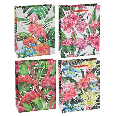Пакет подарочный, высококачественная бумага с глиттером, 18х23х8 см, 4 цвета, фламиного