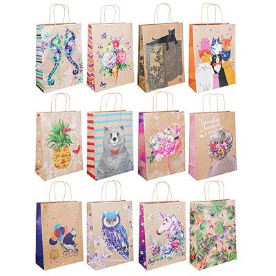 Пакет подарочный бумажный крафт, повышенной плотности, 26х36х12 см, 12 дизайнов
