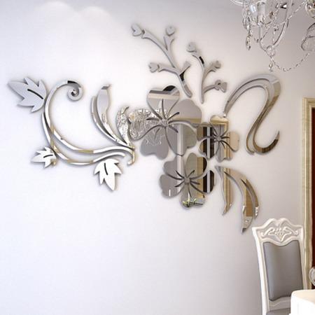 3D наклейка зеркало цветок 90 120 см