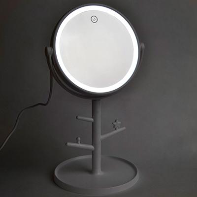 Зеркало настольное с LED-подсветкой, 4хААА, 17х30см, пластик, стекло, USB-провод