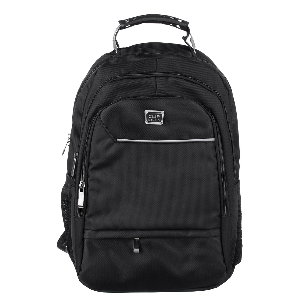 Рюкзак подростковый, 42x30x20см, 3 отделения, 3 кармана, усиленная ручка, плотный полиэстер, черный