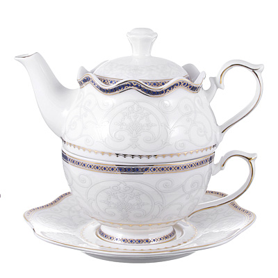MILLIMI Кружево Чайный набор Эгоист, чайник 400мл, чашка 280мл., блюдце 16см., костяной фарфор