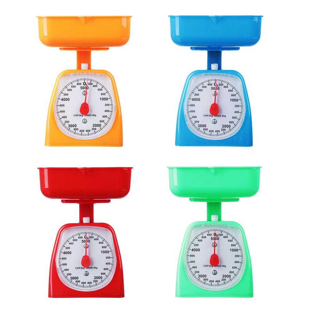 Весы кухонные механические с пластиковой чашей 800мл, макс.нагр. до 5кг, 4 цвета, арт.СХ-129